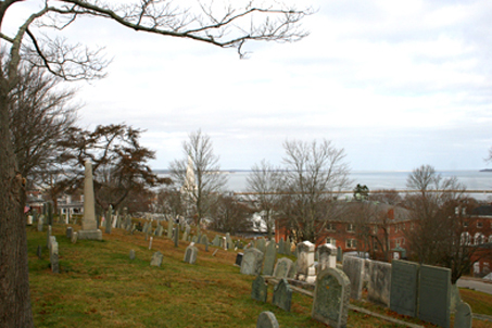 Burial Hill and an ocean view