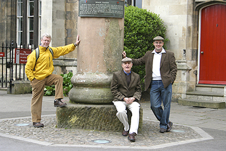 Posing by the unearthed Roman column