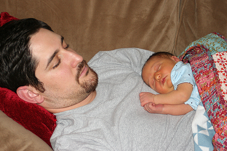 Day 5 — Calvin Blair takes a nap with Papa