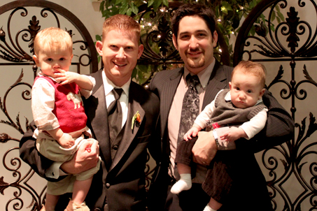 Friend Peter Bradrick and I pose with our sons Knox and Calvin