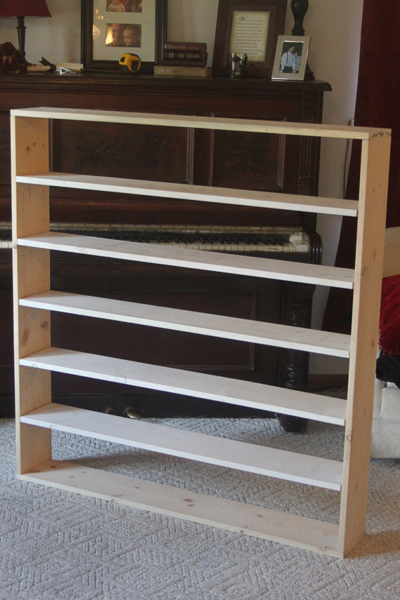 We very carefully cut the shelves to fit perfectly between the uprights