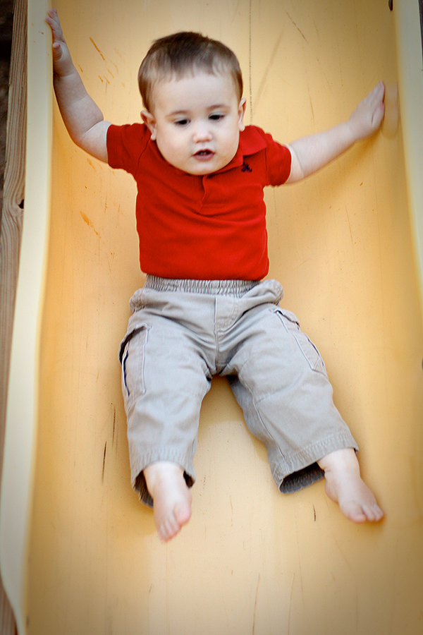 Christian's First Birthday — Braving the Slide!