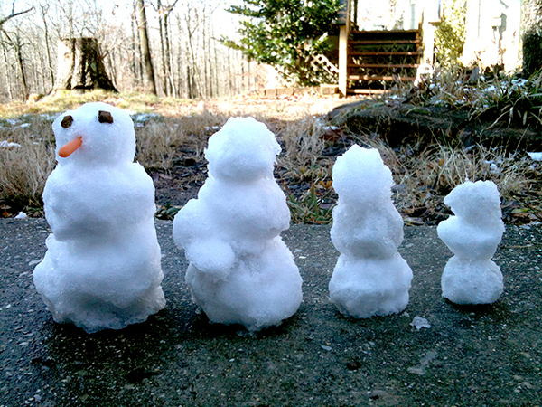 The whole snow family—Papa, Mama, Calvin, Christian and Shiloh (in Mama's arms)