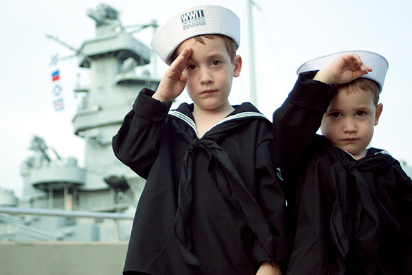 Our Little Sailors Salute in Front of the 90-million-pound U.S.S. Alabama
