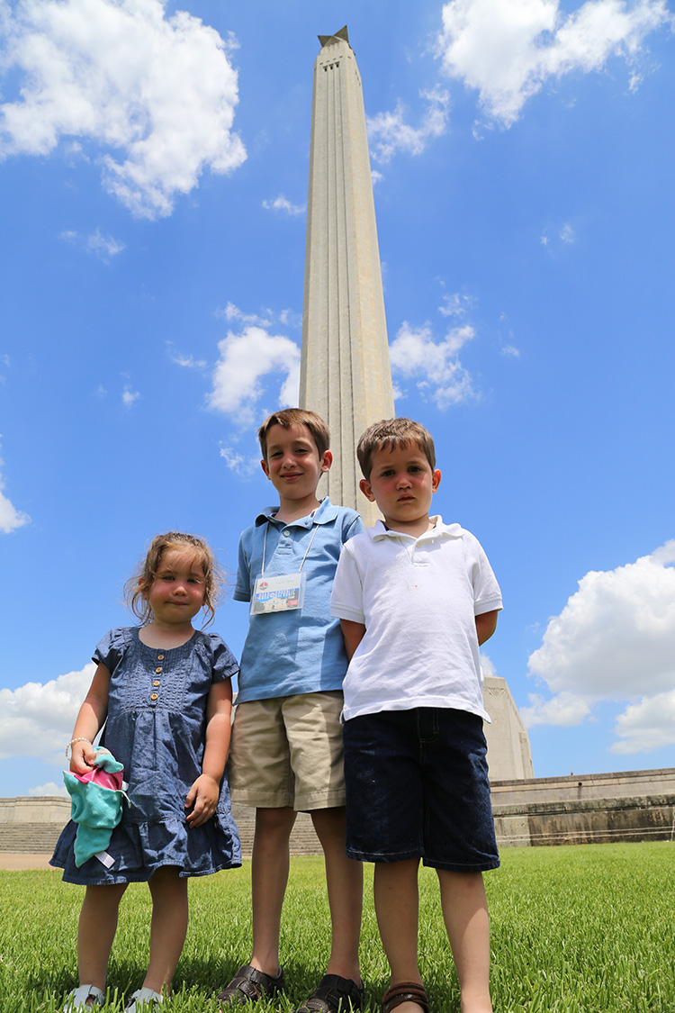 Calvin, Christian and Shiloh in front of the massive San Jacinto Monument Which Stands at Over 560 Feet